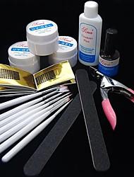 35PCS UV Acrylic Gel Topcoat Cleanser Brush Nail Art Start Basic Kit Set