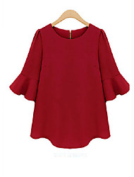 ORG Women's Round Neck Solid Color Half Sleeve Blouse