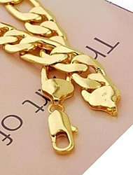 24K Yellow Gold plated Men's Necklace Solid Figaro Link Chain 60CM (24 Inches) 12MM 98g  Jewelry