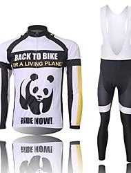 XINTOWN Men's Panda Quick Dry Moisture Absorption Long Sleeve Bib Tights Cycling Suit—Black+White