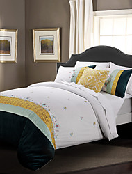 Duvet Cover Set 3 Piece 100 Cotton Classic Embroidery Elegance White