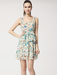 Women's Holiday A Line Dress,Floral U Neck Above Knee Sleeveless Blue / Pink Summer