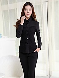 Women's Turtle Neck Solid Color Slim Buckle Long Sleeve Shirts