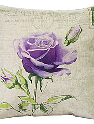 "createforlife® 18 ""Retro-violette Rose Baumwoll-Leinen-Quadrat dekorative Kissen"