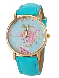 Mulheres Relógio de Moda Quartzo Lega Banda Flor Preta Branco Azul Rose