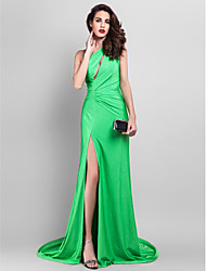TS Couture® Formal Evening Dress - Clover Plus Sizes / Petite A-line One Shoulder Court Train Jersey
