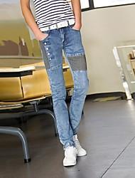 2014 nova moda mid-rise zipper dos homens voar lavado cor hit branqueada jeans skinny longo lápis