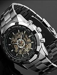 Men's Auto-Mechanical Skeleton Silver Steel Band Wrist Watch