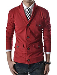 chaqueta de un solo pecho cuello de solapa de los hombres casuales