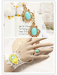 Ocean Princess with Blue Artificial Stone Classic Lolita Accessories Set(Bracelet/Earring)