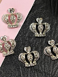 10pcs Large Silver Queen's Holy Crown 3D Alloy Nail Art Decoration