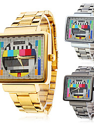 Men's Watch Dress Watch TV Pattern Square Case Steel Band Wrist Watch Cool Watch Unique Watch Fashion Watch