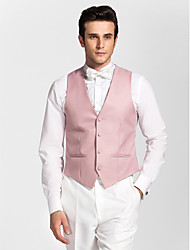 Pink Polyester Tailored Fit Vest
