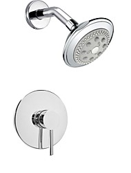 Shower Faucet Contemporary Chrome Wall Mount Rain Single Handle Brass with Showerhead