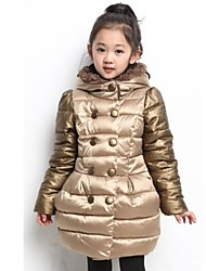 Girl's Gold / Red Down & Cotton Padded / Jacket & Coat,Solid Polyester / Cotton Blend Winter / Fall