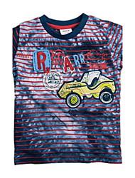 la moda de la camiseta de cuello redondo niños de manga corta bordado coche de carreras de verano para niños juntan con impresión azar