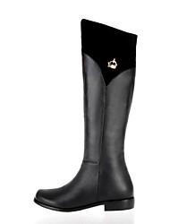 sapatos qq forma do salto baixo botas de couro das mulheres