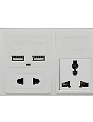 "Power Converter Socket Universial Dual USB Plastic L4"" x W3"" x H1"""