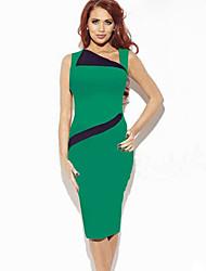 monta cor contrastante vestido lapela