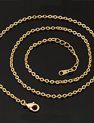 U7 18K Real Gold Platinum Plated Link Chain Choker Necklace Pendant Adjustable 2.7MM 22Inches 55CM