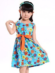 flor de la correa de impresión de cumpleaños fiesta de la ropa ocasional de la muchacha vestidos de princesa de los niños