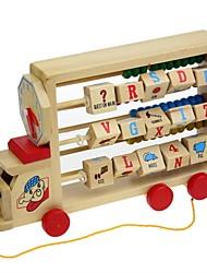 multifunções trator de madeira com ábaco rack / relógio para o brinquedo educacional das crianças