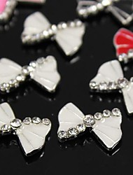10pcs   White Bow Rhinestone Alloy Accessories For Finger Tips Nail Art Decoration