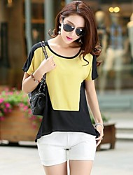 XinYuanGe® Women's Round Collar Chiffon Slim Short Sleeve Tops T-Shirts