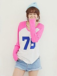 Women's Round Neck Casual Fashion Assorted Color Number Print Cotton Long Sleeves T-Shirt