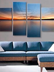 lona esticada arte do lago tranquilo sob o conjunto de luz solar paisagem de 4