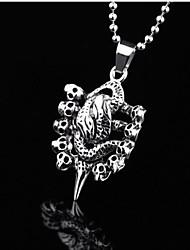 Men's Fashion Personality Titanium Steel Skull Snakelike Pendant Necklaces