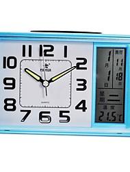 forme carrée style de puissance ™ lcd veilleuse calendrier perpétuel thermomètre alarme snooze bule horloge