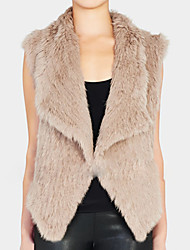 XT Rabbit Color Fur Waistcoat_50 (Khika,Black,Gray)