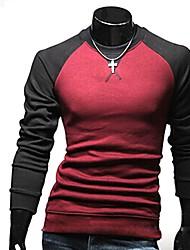 Kedila Hombres de contraste de cuello redondo de manga larga de color de la camiseta