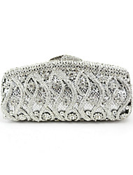 Women Metal Event/Party Evening Bag Silver Black