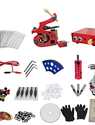 1 Gun Complete No Ink Tattoo Kit with Red Tatoo Machine and Red Aluminium Alloy Power Supply