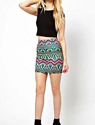 Women's Geometric Striped Wave printing Folk style Skirt Knitting Skirt