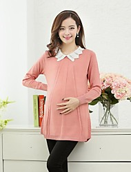 Maternity Ruffle Collar Solid Color Long Sleeve Knitwear