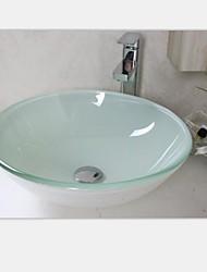 белый круглый закаленное раковины стеклянный сосуд со смесителем набор