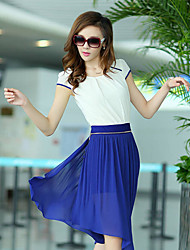 Ashimu Waist Fashion Fitted Splicing Chiffon Blue Dress