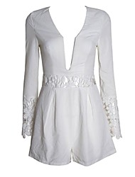 Women's White Jumpsuits , Sexy/Lace Long Sleeve