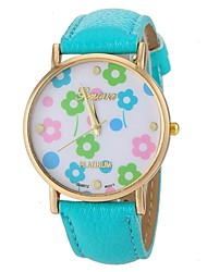 Women's Lovely Flower Pattern PU Band Quartz Wrist Watch (Assorted Colors) Cool Watches Unique Watches