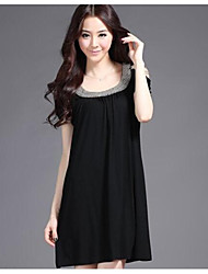 Women's Casual/Daily Dress Mini Short Sleeve Black Cotton Summer