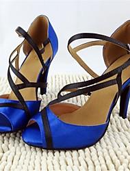 Non Customizable Women's Dance Shoes Latin Satin Stiletto Heel Blue