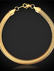 U7 Top Quality 18K Chunky Gold Plated Snake Chain Bracelet or with 18KGP Stamp 5MM 8Inches 20CM