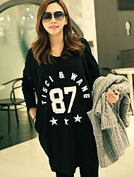 Women's Round Neck Casual Fashion Solid Color Number Print Cotton Long Sleeves T-Shirt