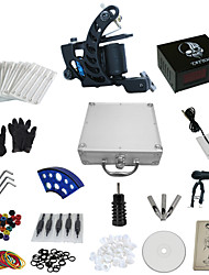1 Gun Complete No Ink Tattoo Kit with Carbon Steel Tatoo Machine and Skull Pattern Power Supply