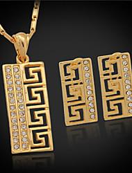 U7 g vintage brincos pingente padrão das mulheres definido 18k platina banhado a ouro strass define mulheres