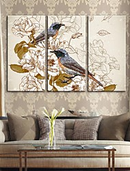 Stretched Canvas Art Retro Decorative Painting Flowers And Birds Set of 3