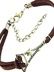 moda Torre Eiffel forma pulseira de couro charme dos homens (1 pc)